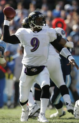 NASHVILLE, TN - NOVEMBER 12:  Steve McNair #9 of the Baltimore Ravens passes against the Tennessee Titans on November 12, 2006 at LP Field in Nashville, Tennessee.  The Ravens won 27-26.  (Photo by Andy Lyons/Getty Images)