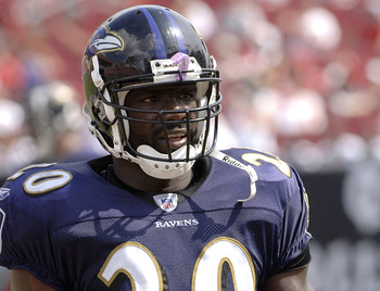 Baltimore Ravens safety Ed Reed  against the  Tampa Bay Buccaneers   September 10, 2006 in Tampa.  The Ravens defeated the Bucs 27 - 0. (Photo by Al Messerschmidt/Getty Images)