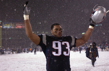 19 Jan 2002:  Richard Seymour #93 of the New England Patriots celebrates during the AFC playoff game against  the Oakland Raidersat Foxboro Stadium in Foxboro, Massachuesetts. The Patriots came from behind to win 16-13 in overtime. Digital Image Mandatory