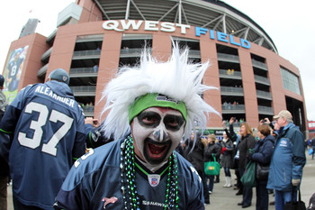 SEATTLE, WA - JANUARY 08:  A Seattle Seahawks fan poses outside Qwest Field before the Seahawks take on the New Orleans Saints in the 2011 NFC wild-card playoff game on January 8, 2011 in Seattle, Washington.  (Photo by Otto Greule Jr/Getty Images)
