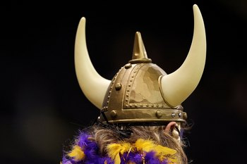 NEW ORLEANS - JANUARY 24:  A rear detail view of a fan of the Minnesota Vikings wearing a viking helmet with horns against the New Orleans Saints during the NFC Championship Game at the Louisiana Superdome on January 24, 2010 in New Orleans, Louisiana.  (