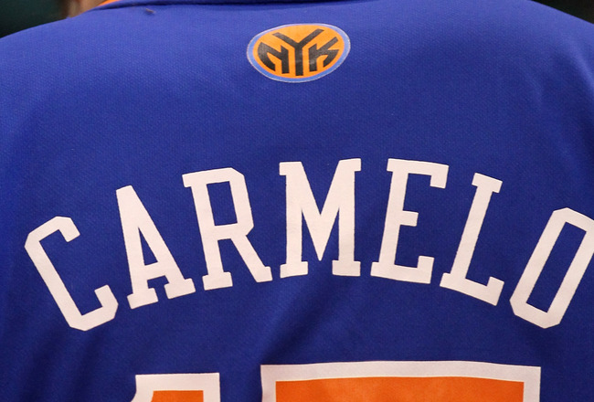 LOS ANGELES, CA - JANUARY 5:  A fan anticipating a possible impending trade wears a New York Knicks jersey with the first name and number of Carmelo Anthony #15 of the Denver Nuggets during the game withthe Los Angeles Clippers at Staples Center on Januar
