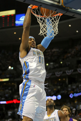 DENVER - MAY 25:  Carmelo Anthony #15 of the Denver Nuggets dunks the ball in the second quarter against the Los Angeles Lakers in Game Four of the Western Conference Finals during the 2009 NBA Playoffs at Pepsi Center on May 25, 2009 in Denver, Colorado.