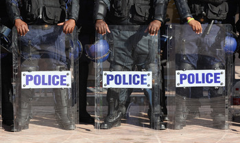 PORT ELIZABETH, SOUTH AFRICA - JUNE 23:  Police line up outside the Nelson Mandela Bay Stadium on June 23, 2010 in Port Elizabeth, South Africa. England play Slovenia at the Nelson Mandela Bay Stadium today in the third and final of their group stage matc