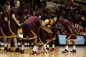 PHILADELPHIA, PA - DECEMBER 08:  Blake Hoffarber #24 of the Minnesota Golden Gophers takes the court during player introductions against the St. Joseph's Hawks at Michael J. Hagan Arena on December 8, 2010 in Philadelphia, Pennsylvania.  (Photo by Chris C