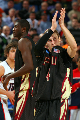 BUFFALO, NY - MARCH 19:  Deividas Dulkys #4 of the Florida State Seminoles acknowledges the crowd during the first round of the 2010 NCAA men's basketball tournament at HSBC Arena on March 19, 2010 in Buffalo, New York.  (Photo by Rick Stewart/Getty Image