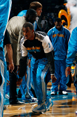 NEW ORLEANS, LA - JANUARY 03:  Chris Paul #3 of the New Orleans Hornets is introduced before taking on the Philadelphia 76ers at New Orleans Arena on January 3, 2011 in New Orleans, Louisiana. NOTE TO USER: User expressly acknowledges and agrees that, by