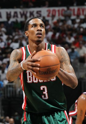 ATLANTA - MAY 2:  Guard Brandon Jennings #3 of the Milwaukee Bucks gets set to shoot a free throw during Game Seven of the Eastern Conference Quarterfinals between the Milwaukee Bucks and the Atlanta Hawks during the 2010 NBA Playoffs at Philips Arena on
