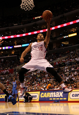 LOS ANGELES - NOVEMBER 3:  Eric Gordon #10 of the Los Angeles Clippers goes up for a shot against the Oklahoma City Thunder at Staples Center on November 3, 2010 in Los Angeles, California. The Clippers won 107-92.  NOTE TO USER: User expressly acknowledg