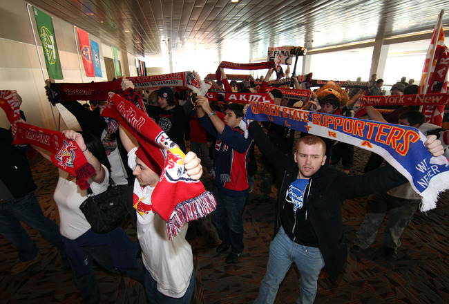 BALTIMORE, MD - JANUARY 13: Fans cheer during the 2011 MLS SuperDraft on January 13, 2011 at the Baltimore Convention Center in Baltimore, Maryland. (Photo by Ned Dishman/Getty Images)
