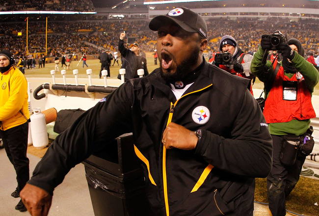 PITTSBURGH, PA - JANUARY 15:  Head coach Mike Tomlin of the Pittsburgh Steelers celebrates after defeating the Baltimore Ravens 31-24 in the AFC Divisional Playoff Game at Heinz Field on January 15, 2011 in Pittsburgh, Pennsylvania.  (Photo by Gregory Sha