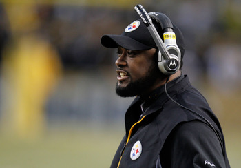 PITTSBURGH, PA - JANUARY 15:  Head coach Mike Tomlin of the Pittsburgh Steelers looks on against the Baltimore Ravens during the AFC Divisional Playoff Game at Heinz Field on January 15, 2011 in Pittsburgh, Pennsylvania.  (Photo by Gregory Shamus/Getty Im