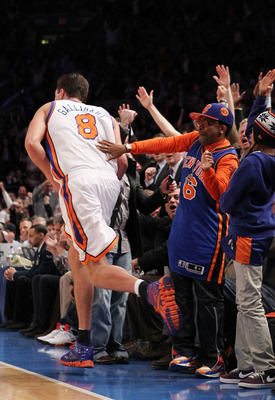 NEW YORK, NY - DECEMBER 22:  Spike Lee celebrates a shot by Danilo Gallinari #8 of the New York Knicks against the Oklahoma City Thunder at Madison Square Garden on December 22, 2010 in New York City.   NOTE TO USER: User expressly acknowledges and agrees