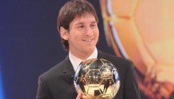 Messi recieves FIFA Ballon D'Or 2010