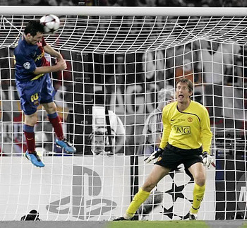 messi scores with his head against man utd in 2009 cl final