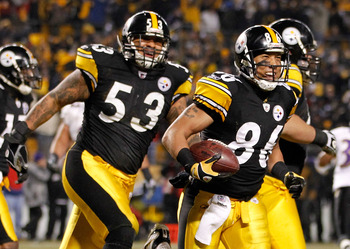PITTSBURGH, PA - JANUARY 15:  Wide receiver Hines Ward #86 of the Pittsburgh Steelers celebrates after a touchdown against the Baltimore Ravens in the third quarter of the AFC Divisional Playoff Game at Heinz Field on January 15, 2011 in Pittsburgh, Penns