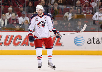 GLENDALE, AZ - JANUARY 04:  Rick Nash #61 of the Columbus Blue Jackets during the NHL game against the Phoenix Coyotes at Jobing.com Arena on January 4, 2011 in Glendale, Arizona.  The Coyotes defeated the Blue Jackets 4-2.  (Photo by Christian Petersen/G