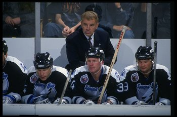 12 Oct 1992:  Tampa Bay Lightning head coach Terry Crisp looks on during a game against the Buffalo Sabres at Memorial Auditorium in Buffalo, New York. Mandatory Credit: Joe Patronite  /Allsport