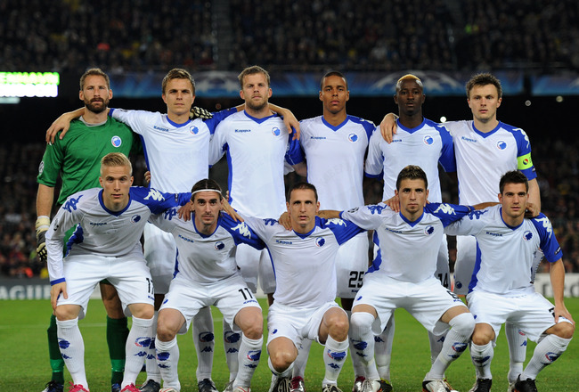 BARCELONA, SPAIN - OCTOBER 20:  FC Copenhagen players pose for a team picture prior to the start of the UEFA Champions League group D match between Barcelona and FC Copenhagen at the Camp Nou stadium on October 20, 2010 in Barcelona, Spain.  (Photo by Jas
