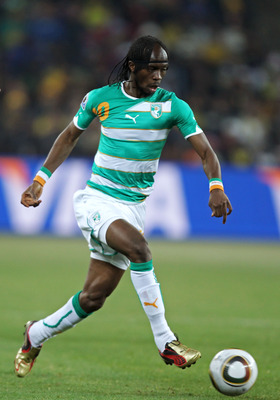 JOHANNESBURG, SOUTH AFRICA - JUNE 20:  Gervinho of Ivory Coast in action during the 2010 FIFA World Cup South Africa Group G match between Brazil and Ivory Coast at Soccer City Stadium on June 20, 2010 in Johannesburg, South Africa.  (Photo by Ian Walton/