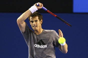 MELBOURNE, AUSTRALIA - JANUARY 10:  Andy Murray of Great Britain plays a forehand during a practice session ahead of the 2011 Australian Open at Melbourne Park on January 10, 2011 in Melbourne, Australia.  (Photo by Robert Prezioso/Getty Images)