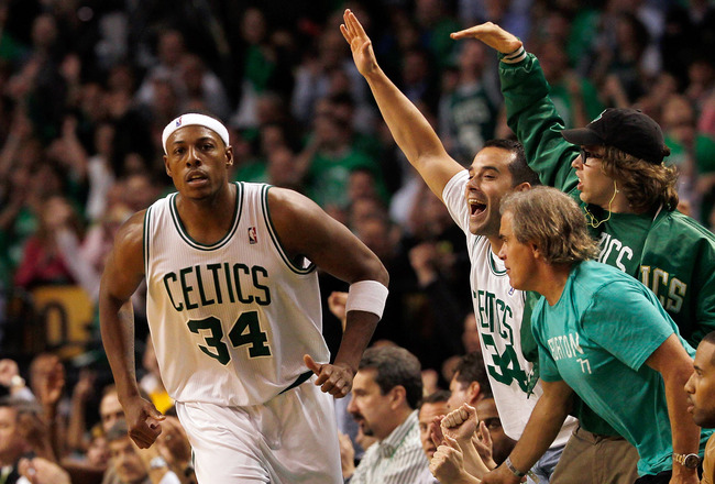 BOSTON, MA - OCTOBER 26:  Fans reacts after Paul Pierce #34 of the Boston Celtics scored a basket against the Miami Heat at the TD Banknorth Garden on October 26, 2010 in Boston, Massachusetts. NOTE TO USER: User expressly acknowledges and agrees that, by