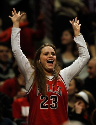 CHICAGO - FEBRUARY 26: A fan of the Chicago Bulls cheers during a game between the Bulls and the Portland Trail Blazers at the United Center on February 26, 2010 in Chicago, Illinois. The Bulls defeated the Trail Blazers 115-111 in overtime. NOTE TO USER: