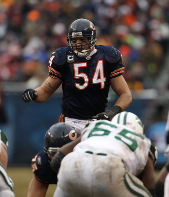CHICAGO, IL - DECEMBER 26: Brian Urlacher #54 of the Chicago Bears awaits the start of play against the New York Jets at Soldier Field on December 26, 2010 in Chicago, Illinois. The Bears defeated the Jets 38-34. (Photo by Jonathan Daniel/Getty Images)