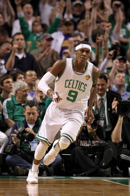 BOSTON - JUNE 13:  Fans cheer as Rajon Rondo #9 of the Boston Celtics reacts after he made a basket in the first quarter against the Los Angeles Lakers during Game Five of the 2010 NBA Finals on June 13, 2010 at TD Garden in Boston, Massachusetts. NOTE TO