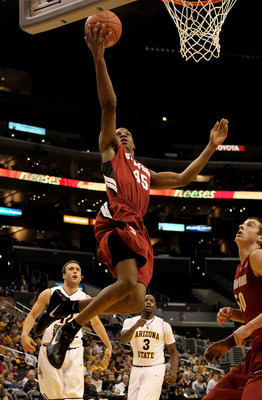 LOS ANGELES - MARCH 11: Jeremy Green #45 of the Stanford Cardinal  goes up fro a shot against the Arizona State Sun Devils during the quarterfinals of the Pac-10 Basketball Tournament at Staples Center on March 11, 2010 in Los Angeles, California.   (Phot