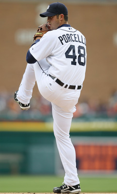 DETROIT - APRIL 09:  Rick Porcello #48 of the Detroit Tigers deliver a pitch against the Cleveland Indians on April 9, 2010 during Opening Day at Comerica Park in Detroit, Michigan.  (Photo by Elsa/Getty Images)