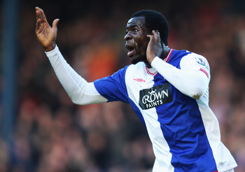 BLACKBURN, ENGLAND - JANUARY 17:  Chris Samba of Blackburn celebrates his goal by gesturing to the home fans during the Barclays Premier League match between Blackburn Rovers and Fulham at Ewood Park on January 17, 2010 in Blackburn, England.  (Photo by M