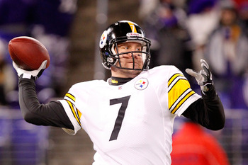 BALTIMORE, MD - DECEMBER 05:  Quarterback Ben Roethlisberger #7 of the Pittsburgh Steelers looks to pass during warms up before playing against the Baltimore Ravens at M&T Bank Stadium on December 5, 2010 in Baltimore, Maryland.  (Photo by Geoff Burke/Get