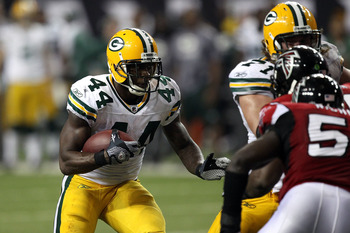 ATLANTA, GA - JANUARY 15:  James Starks #44 of the Green Bay Packers runs the ball against the Atlanta Falcons during their 2011 NFC divisional playoff game at Georgia Dome on January 15, 2011 in Atlanta, Georgia.  (Photo by Streeter Lecka/Getty Images)