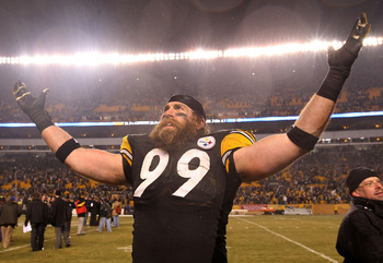 PITTSBURGH, PA - JANUARY 15:  Defensive end Brett Keisel #99 of the Pittsburgh Steelers celebrates after defeating the Baltimore Ravens 31-24 in the AFC Divisional Playoff Game at Heinz Field on January 15, 2011 in Pittsburgh, Pennsylvania.  (Photo by Nic