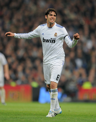 MADRID, SPAIN - JANUARY 13:  Kaka of Real Madrid reacts during the quarter-final Copa del Rey first leg match between Real Madrid and Atletico Madrid at Estadio Santiago Bernabeu on January 13, 2011 in Madrid, Spain.  (Photo by Jasper Juinen/Getty Images)