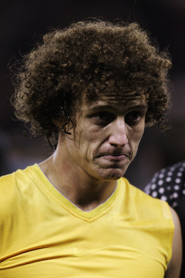 DERBY, ENGLAND - OCTOBER 11:  David Luiz of Brazil  looks on after the International Friendly match between Brazil and Ukraine at Pride Park Stadium on October 11, 2010 in Derby, England.  (Photo by Dean Mouhtaropoulos/Getty Images)