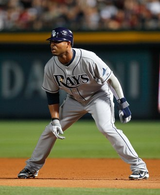 ATLANTA - JUNE 15:  Carl Crawford #13 of the Tampa Bay Rays against the Atlanta Braves at Turner Field on June 15, 2010 in Atlanta, Georgia.  (Photo by Kevin C. Cox/Getty Images)