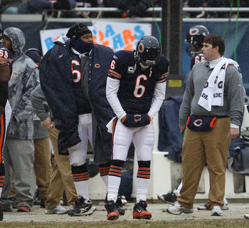 CHICAGO, IL - DECEMBER 26: Jay Cutler #6 of the Chicago Bears reacts on the sidelines after throwing an interception for a touchdown against the New York Jets at Soldier Field on December 26, 2010 in Chicago, Illinois. The Bears defeated the Jets 38-34. (