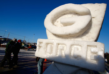 GREEN BAY, WI - JANUARY 20:  A snow sculpture for the Green Bay Packers is seen outside of Lambeau Field before the NFC championship game against the New York Giants on January 20, 2008 at Lambeau Field in Green Bay, Wisconsin.  (Photo by Jamie Squire/Get