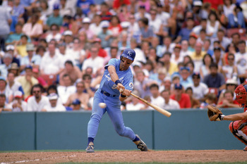 1988:  George Brett #5 of the Kansas City Royals swings at a pitch during a game in 1988.  (Photo by Rick Stewart/Getty Images)