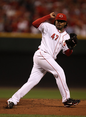 CINCINNATI - OCTOBER 10: Starting pitcher Johnny Cueto #47 of the Cincinnati Reds follows through after delivering the ball against the Philadelphia Phillies during game 3 of the NLDS at Great American Ball Park on October 10, 2010 in Cincinnati, Ohio.  T
