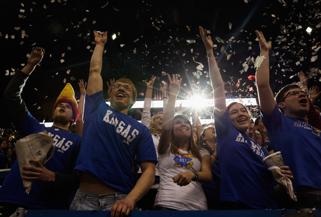 LAWRENCE, KS - JANUARY 15:  Kansas fans cheer during player introductions prior to the game between the Kansas Jayhawks and the Nebraska Cornhuskers on January 15, 2011 at Allen Fieldhouse in Lawrence, Kansas.  (Photo by Jamie Squire/Getty Images)