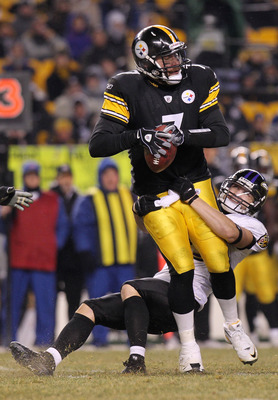 PITTSBURGH, PA - JANUARY 15:  Quarterback Ben Roethlisberger #7 of the Pittsburgh Steelers is sacked by safety Haruki Nakamura #43 of the Baltimore Ravens in the AFC Divisional Playoff Game at Heinz Field on January 15, 2011 in Pittsburgh, Pennsylvania.