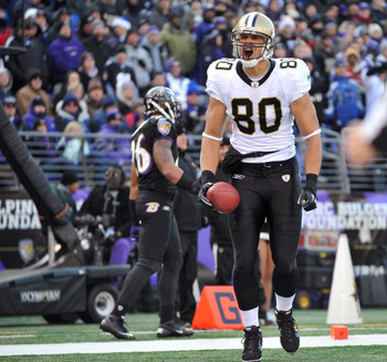 Jimmy Graham celebrates after scoring one of his two touchdowns against the Baltimore Ravens.