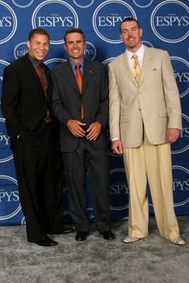 HOLLYWOOD - JULY 11:  (L-R) Boise State football player Ian Johnson, head coach Chris Peterson and Jared Zabransky hold the award for 'Best Play' in the press room during the 2007 ESPY Awards at the Kodak Theatre on July 11, 2007 in Hollywood, California.