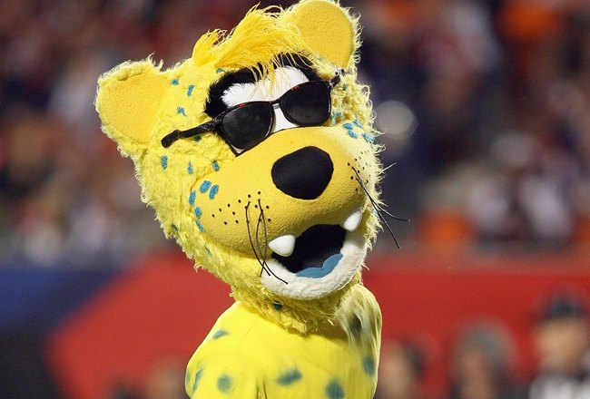 MIAMI GARDENS, FL - JANUARY 31:  Mascot Jaxson de Ville of the Jacksonville Jaguars wears a thong on the field during the 2010 AFC-NFC Pro Bowl at Sun Life Stadium on January 31, 2010 in Miami Gardens, Florida. (Photo by Doug Benc/Getty Images)