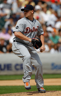 CHICAGO - JUNE 10: Phil Coke #40 of the Detriot Tigers pitches against the Chicago White Sox at U.S. Cellular Field on June 10, 2010 in Chicago, Illinois. The White Sox defeated the Tigers 3-0. (Photo by Jonathan Daniel/Getty Images)