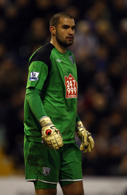 WEST BROMWICH, ENGLAND - JANUARY 15:  Goalkeeper Boaz Myhill of West Brom in action during the Barclays Premier League match between West Bromwich Albion and Blackpool at The Hawthorns on January 15, 2011 in West Bromwich, England.  (Photo by Richard Heat