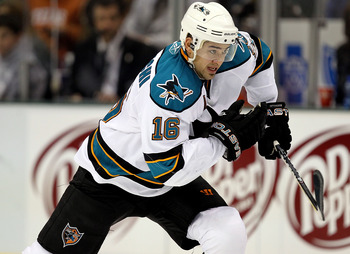 DALLAS, TX - DECEMBER 16:  Right wing Devin Setoguchi #16 of the San Jose Sharks on December 16, 2010 in Dallas, Texas.  (Photo by Ronald Martinez/Getty Images)